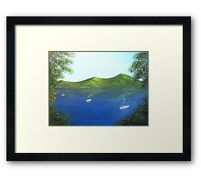 Anchored boats on a lake Framed Print
