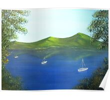 Anchored boats on a lake Poster