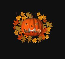 Mean Jack O Lantern Leaves Halloween  Womens Fitted T-Shirt