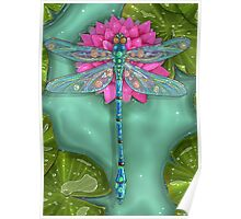 Dragonfly and Water Lily Poster