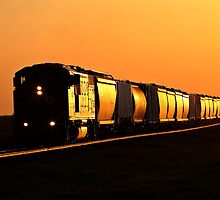 Setting sun reflecting off train and track by pictureguy