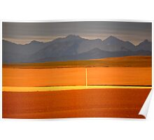 High Plains of Alberta with Rocky Mountains in distance Poster