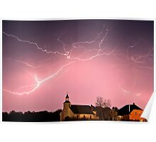 Lightning bolts over Spring Valley country church Poster