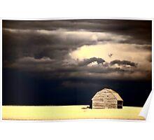 Storm clouds behind abandoned Saskatchewan barn Poster