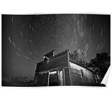 Star tracks over old abandoned garage in Saskatchewan Poster
