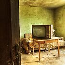 Room with tv in old abandoned house by Mario Cehulic