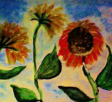 3 sunflowers in the wind, watercolor by Anna  Lewis, blind artist