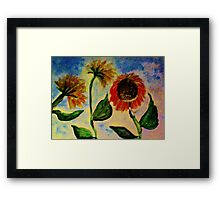 3 sunflowers in the wind, watercolor Framed Print