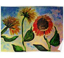 3 sunflowers in the wind, watercolor Poster