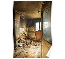 Old abandoned and destroyed living room Poster