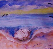 Conch shell washed up, watercolor by Anna  Lewis