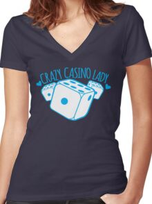 Crazy Casino Lady with three dice Women's Fitted V-Neck T-Shirt