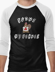 I Love Canadian Beaver Men's Baseball ¾ T-Shirt