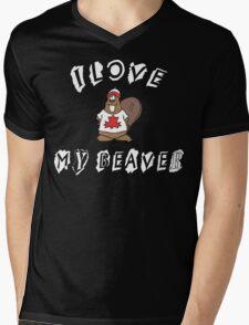 I Love My Beaver Mens V-Neck T-Shirt