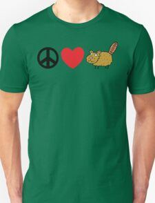 Peace Love Beaver Unisex T-Shirt