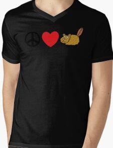 Peace Love Beaver Mens V-Neck T-Shirt