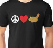 Peace Love Beaver Unisex T-Shirt