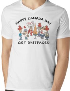 Happy Birthday Canada Get Shit Faced Mens V-Neck T-Shirt