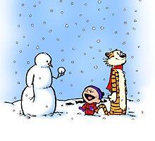 calvin hobbes snowy sky by abata