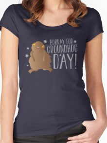 HOORAY FOR GROUNDHOG DAY! with cute little groundhog and snowflakes Women's Fitted Scoop T-Shirt