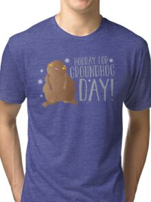 HOORAY FOR GROUNDHOG DAY! with cute little groundhog and snowflakes Tri-blend T-Shirt