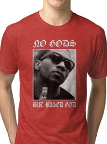 No Gods but Based God - Old English Tri-blend T-Shirt