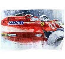 Ferrari 126C Silverstone 1981 British GP Gilles Villeneuve Poster