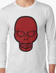 Solid Red Skull Long Sleeve T-Shirt