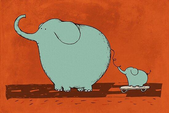Little Skateboard Elephant by Carla Martell