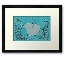 Flower Garden Elephant Framed Print
