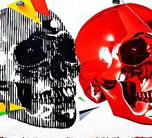Double Skulls Graffiti - Miami Street Art by WayfarerPrints