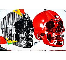 Double Skulls Graffiti - Miami Street Art Photographic Print