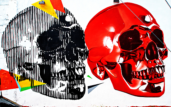 Double Skulls Graffiti - Miami Street Art by WayfarerPrints