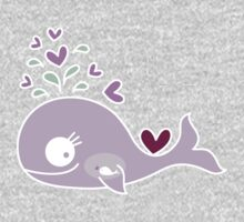 Whimsical Cute Magenta Purple Pregnant Mommy Whale One Piece - Long Sleeve