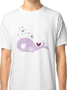 Whimsical Cute Magenta Purple Pregnant Mommy Whale Classic T-Shirt