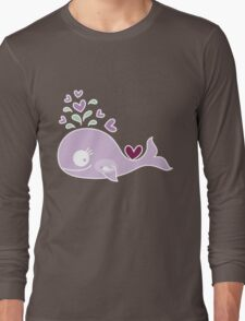 Whimsical Cute Magenta Purple Pregnant Mommy Whale Long Sleeve T-Shirt