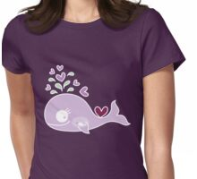 Whimsical Cute Magenta Purple Pregnant Mommy Whale Womens Fitted T-Shirt