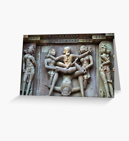 Kamasutra carvings on Khajuraho temple walls Greeting Card