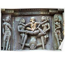 Kamasutra carvings on Khajuraho temple walls Poster