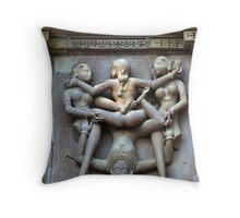 Kamasutra carvings on Khajuraho temple walls Throw Pillow