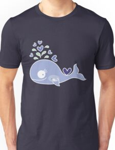 Whimsical Cute Indigo Purple Pregnant Mommy Whale Unisex T-Shirt