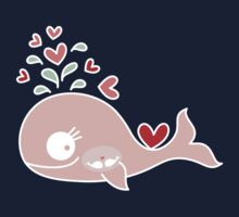 Whimsical Cute Twins Baby Pink Pregnant Mommy Whale Baby Tee