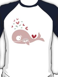 Whimsical Cute Twins Baby Pink Pregnant Whale T-Shirt