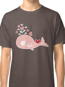 Whimsical Cute Twins Baby Pink Pregnant Mommy Whale Classic T-Shirt