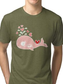 Whimsical Cute Twins Baby Pink Pregnant Mommy Whale Tri-blend T-Shirt