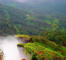 Green mountains full of Fog in Mahableshwer India by Arvind Singh