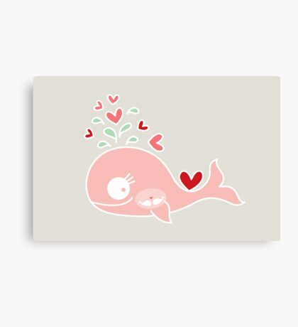 Whimsical Cute Twins Baby Pink Pregnant Mommy Whale Canvas Print