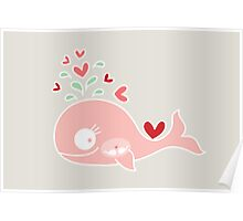 Whimsical Cute Twins Baby Pink Pregnant Whale Poster