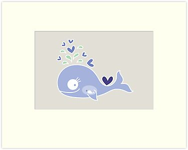 Whimsical Cute Indigo Purple Pregnant Whale by fatfatin