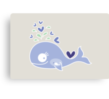 Whimsical Cute Indigo Purple Pregnant Whale Canvas Print
